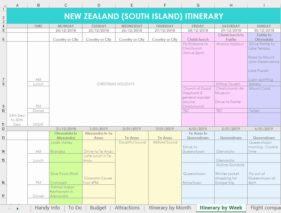Trip Planner Template Excel Fresh How I Use Excel to organize All My Travel Plans Research