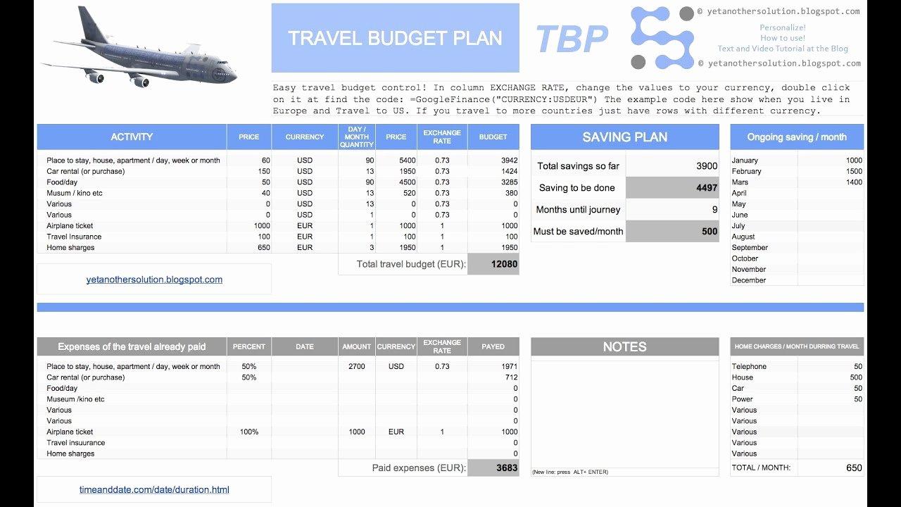 Trip Planner Template Excel Fresh Travel Bud Plan