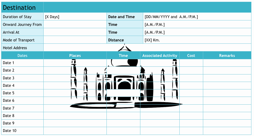 Trip Planner Template Excel Inspirational 9 Useful Travel Itinerary Templates that are Free