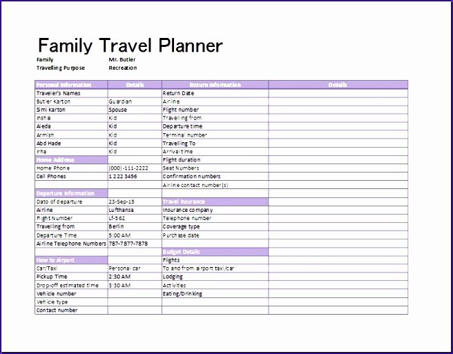 Trip Planner Template Excel Lovely 8 Travel Plan Template Excel Exceltemplates Exceltemplates