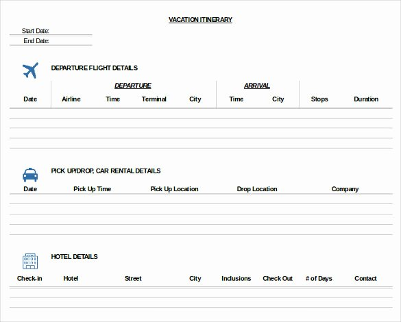 Trip Planner Template Excel New Vacation Trip Planner Template – Planner Template Free