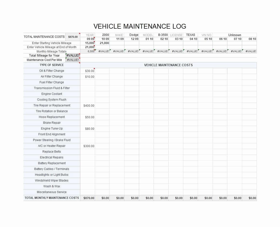 Truck Maintenance Schedule Template Best Of Preventive Maintenance Checklist for Semi Trucks Best