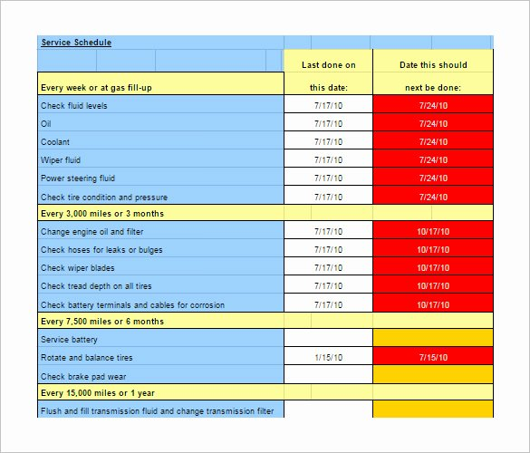 Truck Maintenance Schedule Template Lovely Maintenance Schedule Template 37 Free Word Excel Pdf