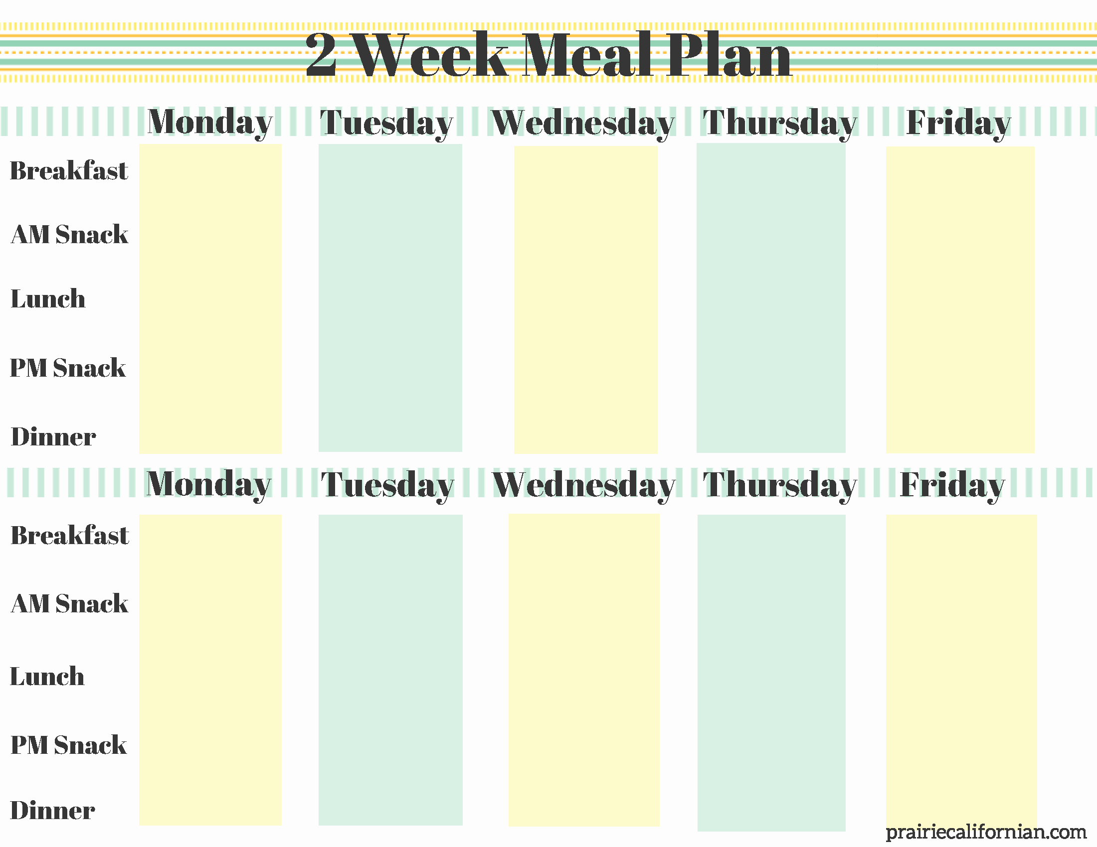 Two Week Meal Planner Template Awesome A New Year Of Fitness & Healthy Eating