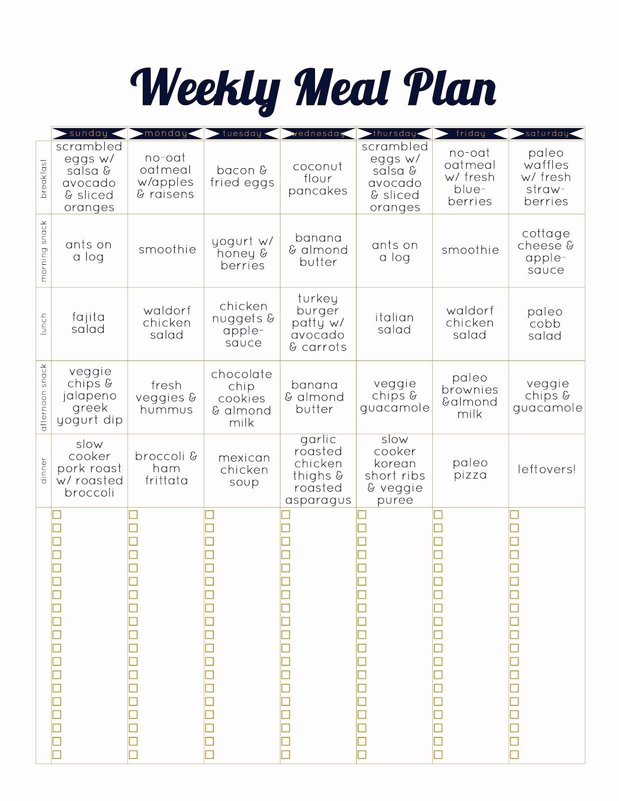 Two Week Meal Planner Template Best Of Always Underfoot Paleo Template Meal Plan Week 2