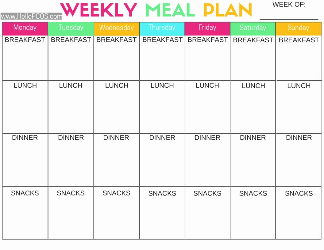Two Week Meal Planner Template Best Of Diet Plan Pcos Diet Plan
