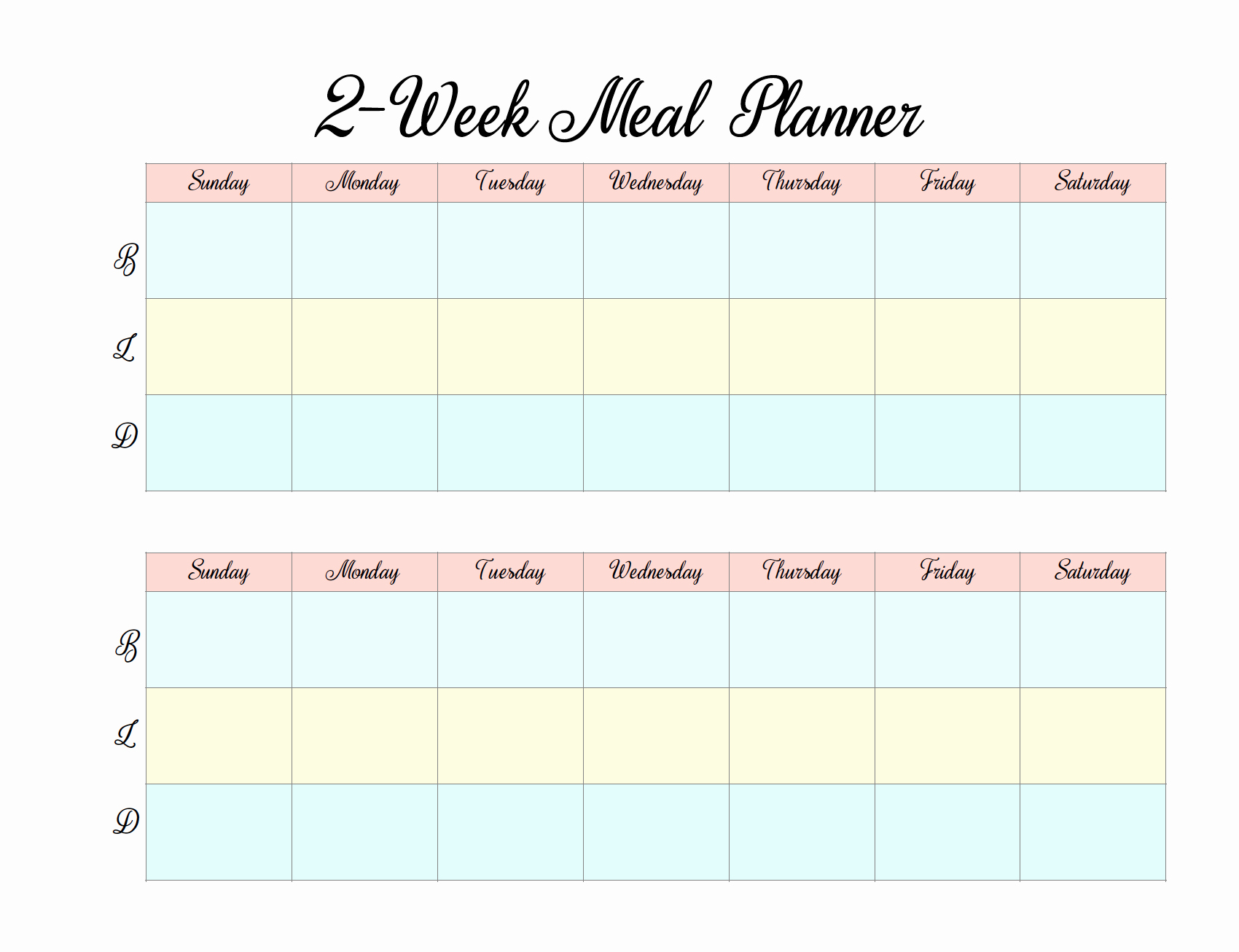 Two Week Meal Planner Template Inspirational 2 Week Meal Plan Template