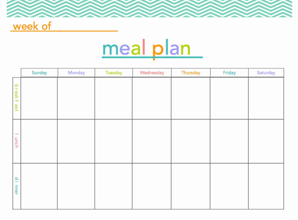 Two Week Meal Planner Template Luxury Free Meal Plan Printable