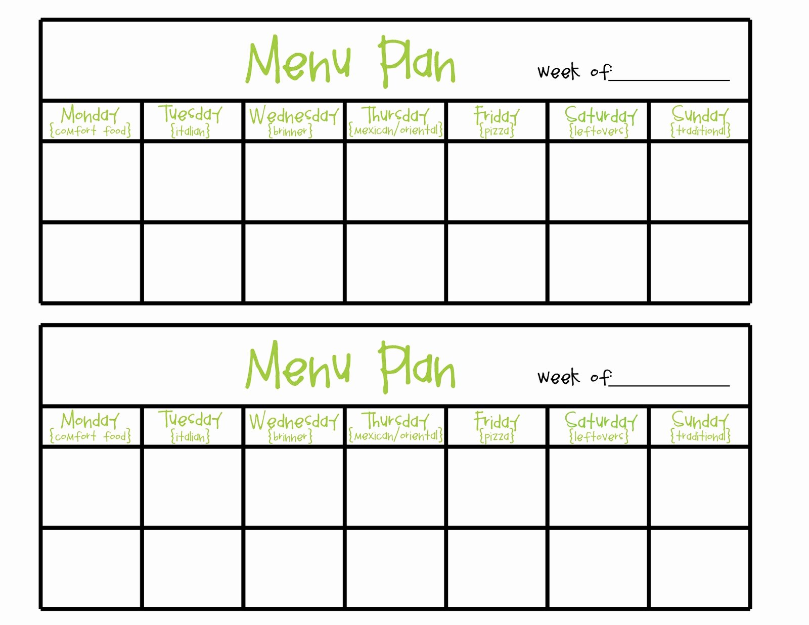 Two Week Meal Planner Template Unique Simply Plicated Menu Planning