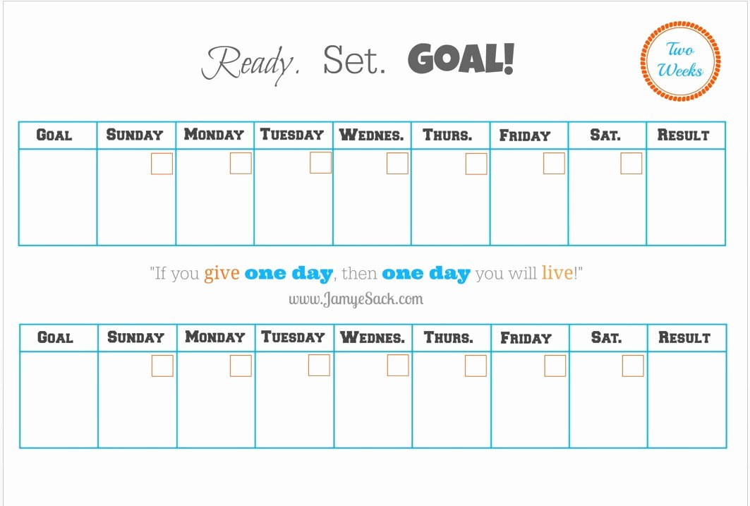 Two Week Schedule Template Awesome [free Printable] Two Week Goal Calendar – Jamye Sack