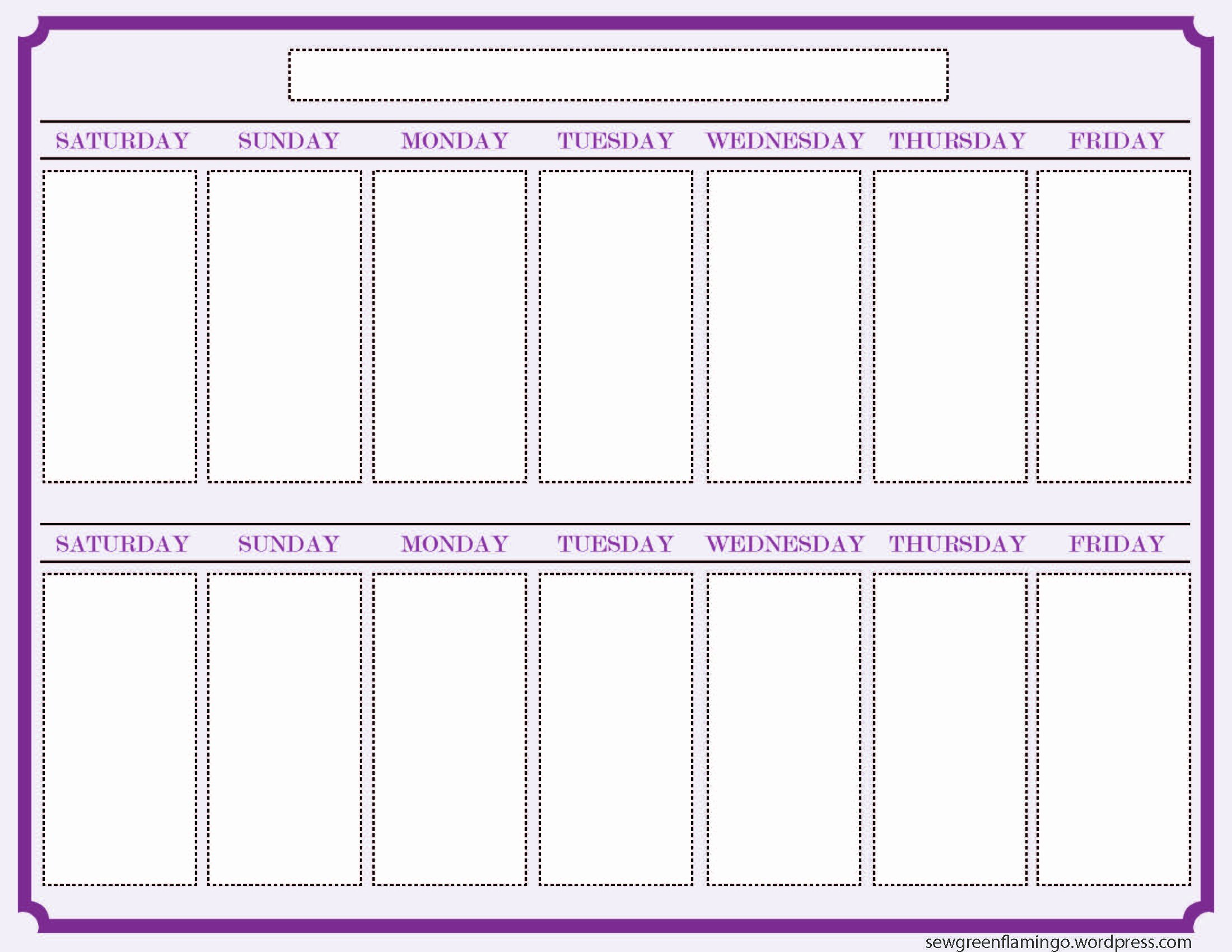 Two Week Schedule Template Awesome Getting organized 2 Week Planner