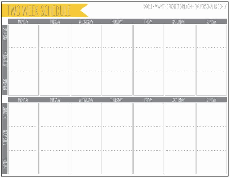 Two Week Schedule Template Awesome Printable Two Week Planner Perfect for Helping with Work