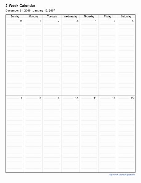 Two Week Schedule Template Beautiful Printable 2 Week Calendar Calendarsquick
