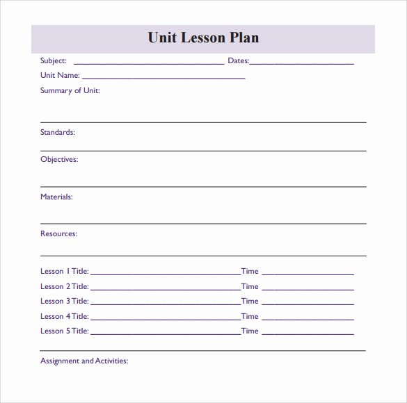 Unit Lesson Plans Template Luxury Unit Plan Template