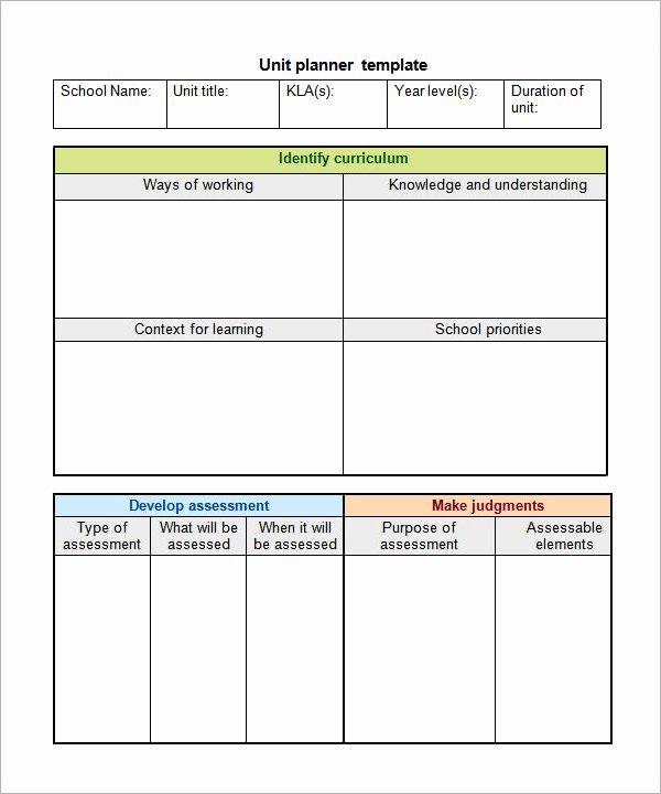 Unit Lesson Plans Template Unique Unit Plan Template