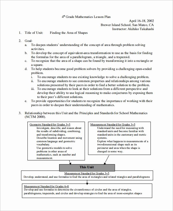 Unit Plan Template Common Core Lovely How to Write Lesson Plan for Mathematics Pdf