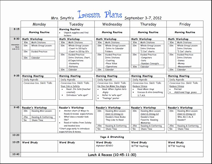 Unit Planner Template for Teachers Beautiful First Week Lesson Plans First Grade