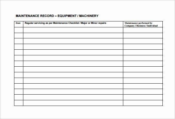 Vehicle Maintenance Schedule Template Excel Fresh Equipment Maintenance Schedule Template Excel