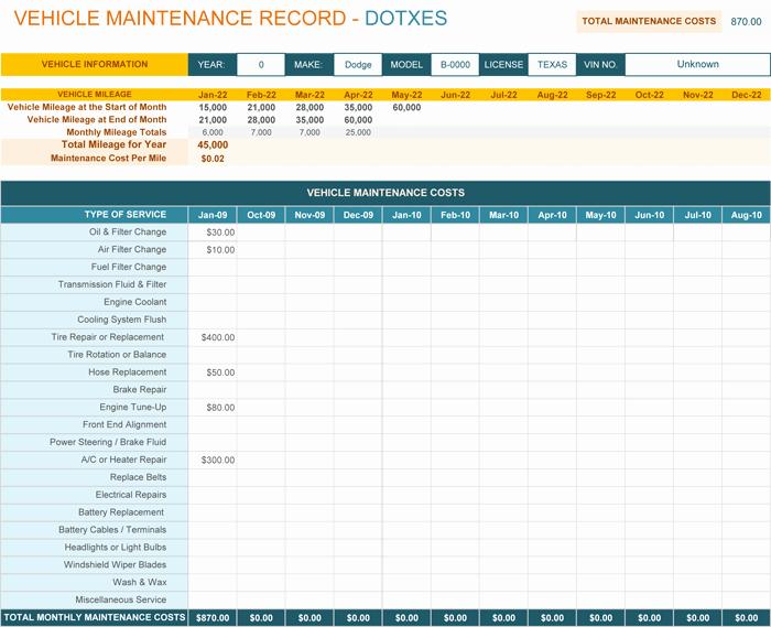 Vehicle Maintenance Schedule Template Excel Lovely Vehicle Maintenance Log Template for Excel Monthly Dotxes