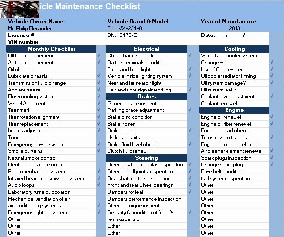 Vehicle Maintenance Schedule Template Excel New Vehicle Maintenance Checklist Template Excel Tmp