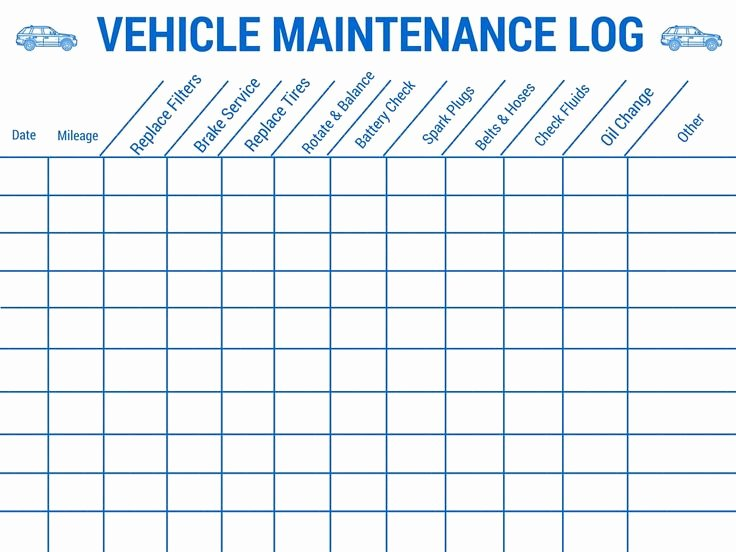 Vehicle Maintenance Schedule Template Excel Unique Vehicle Maintenance Log Stay Safe On Your Up Ing