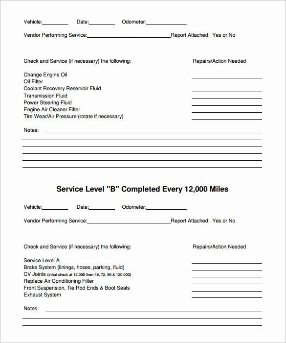Vehicle Maintenance Schedule Template Excel Unique Vehicle Maintenance Schedule Template 13 Free Word