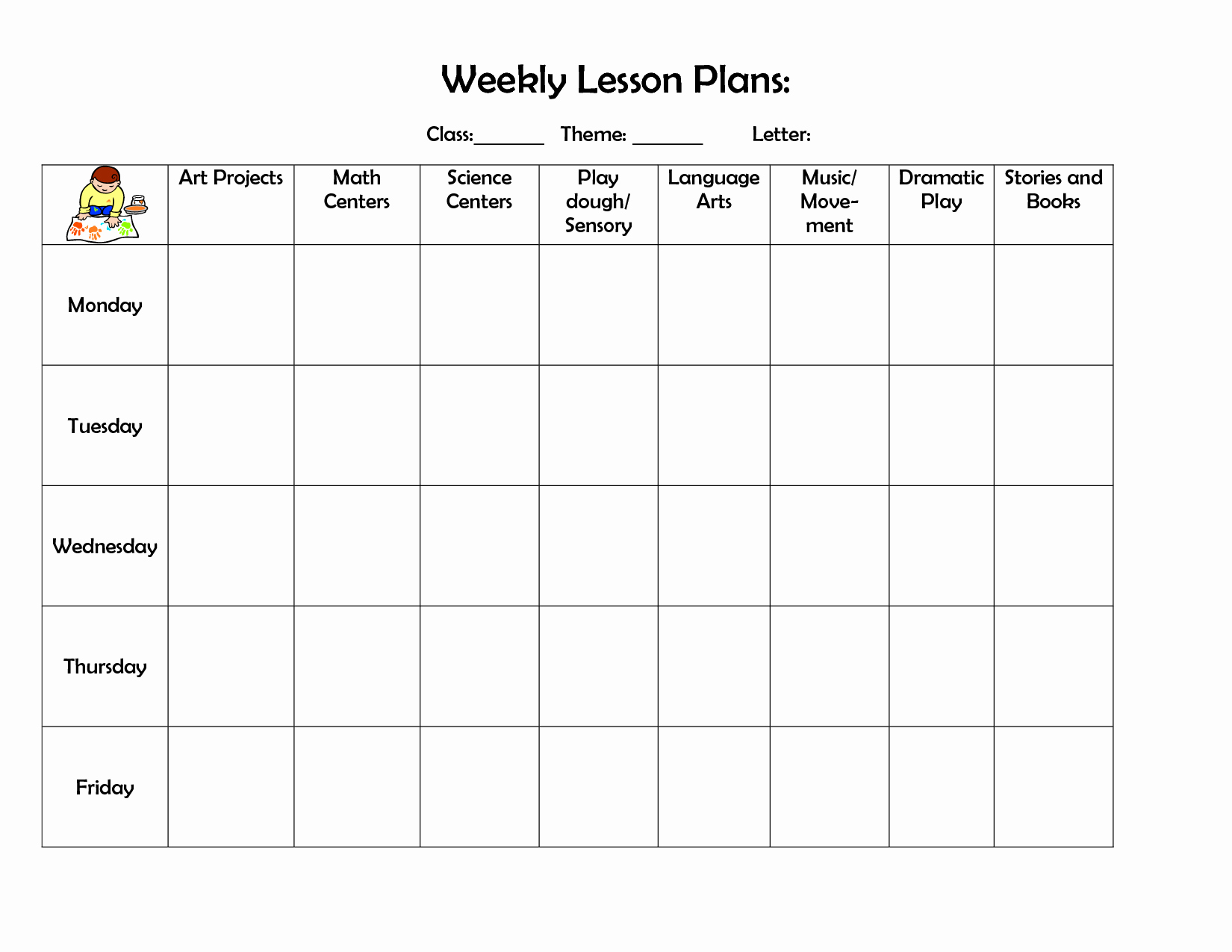 Vpk Lesson Plan Template New Infant Blank Lesson Plan Sheets