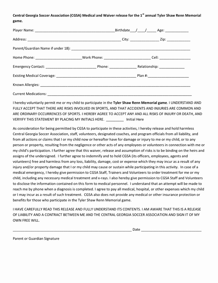 Waiver form Template for Sports Beautiful 28 Of softball Medical Release and Waiver form