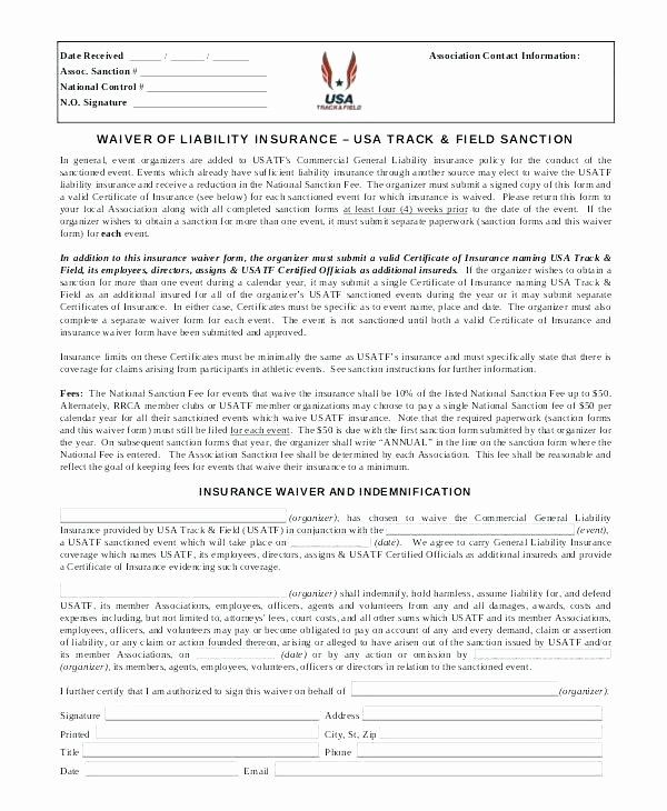 Waiver form Template for Sports Best Of Certificate Of Insurance Template Doc – Tekprogapp