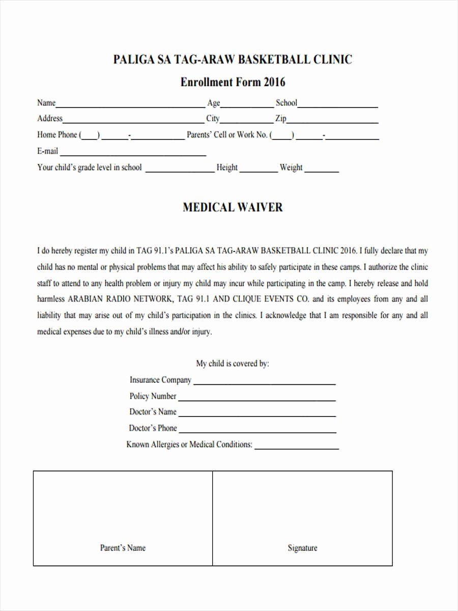 Waiver form Template for Sports Fresh Free 6 Basketball Waiver forms In Samples Examples formats