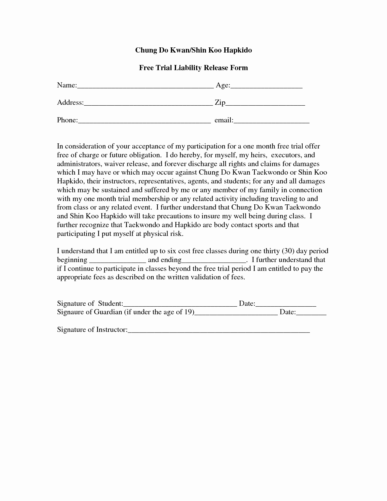 Waiver form Template for Sports Fresh Free Printable Liability form form Generic