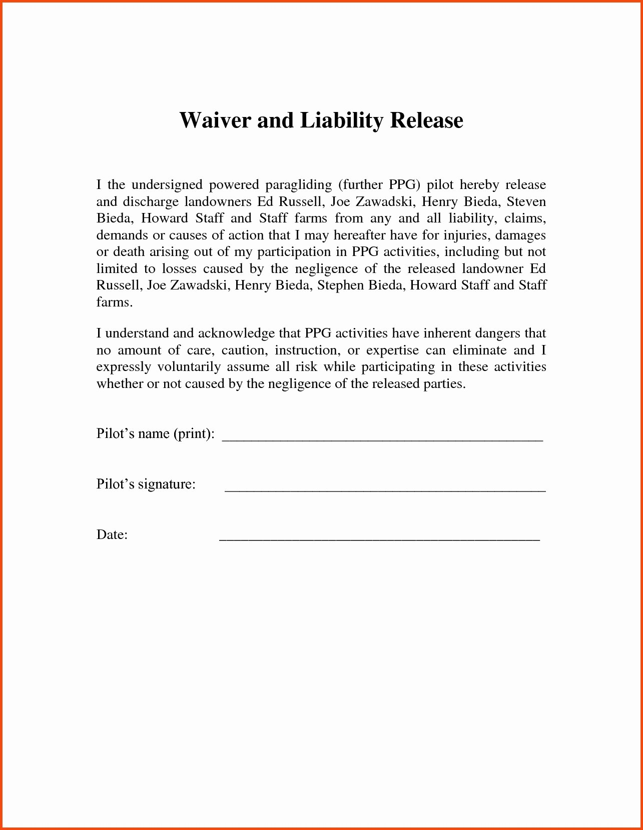 Waiver form Template for Sports Inspirational Release Liability Letter Template Examples