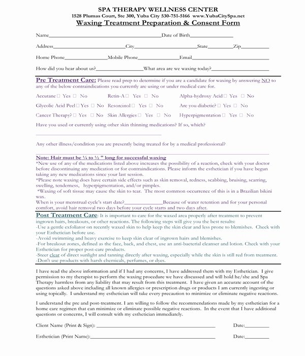Waxing Consent form Template Awesome Free 6 Waxing Consent forms In Pdf