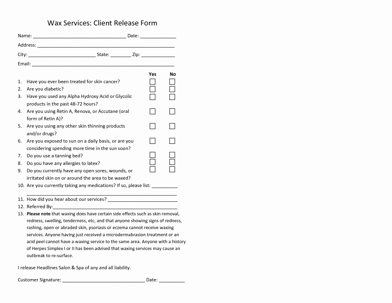 Waxing Consent form Template Awesome Waxing Consent form Template Waxing form