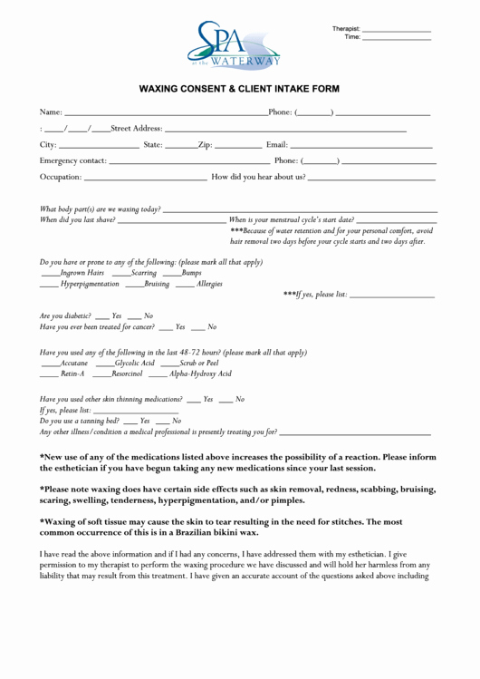 Waxing Consent form Template Elegant Waxing Consent Client Intake form Printable Pdf