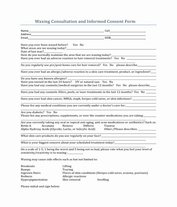 Waxing Consent form Template Fresh Free 6 Waxing Consent forms In Pdf