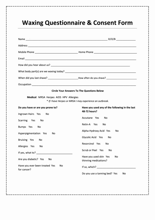 Waxing Consent form Template Fresh Waxing Questionnaire & Consent form Printable Pdf