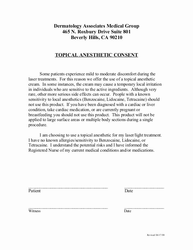 Waxing Consent form Template Lovely Laser Hair Removal Consent form