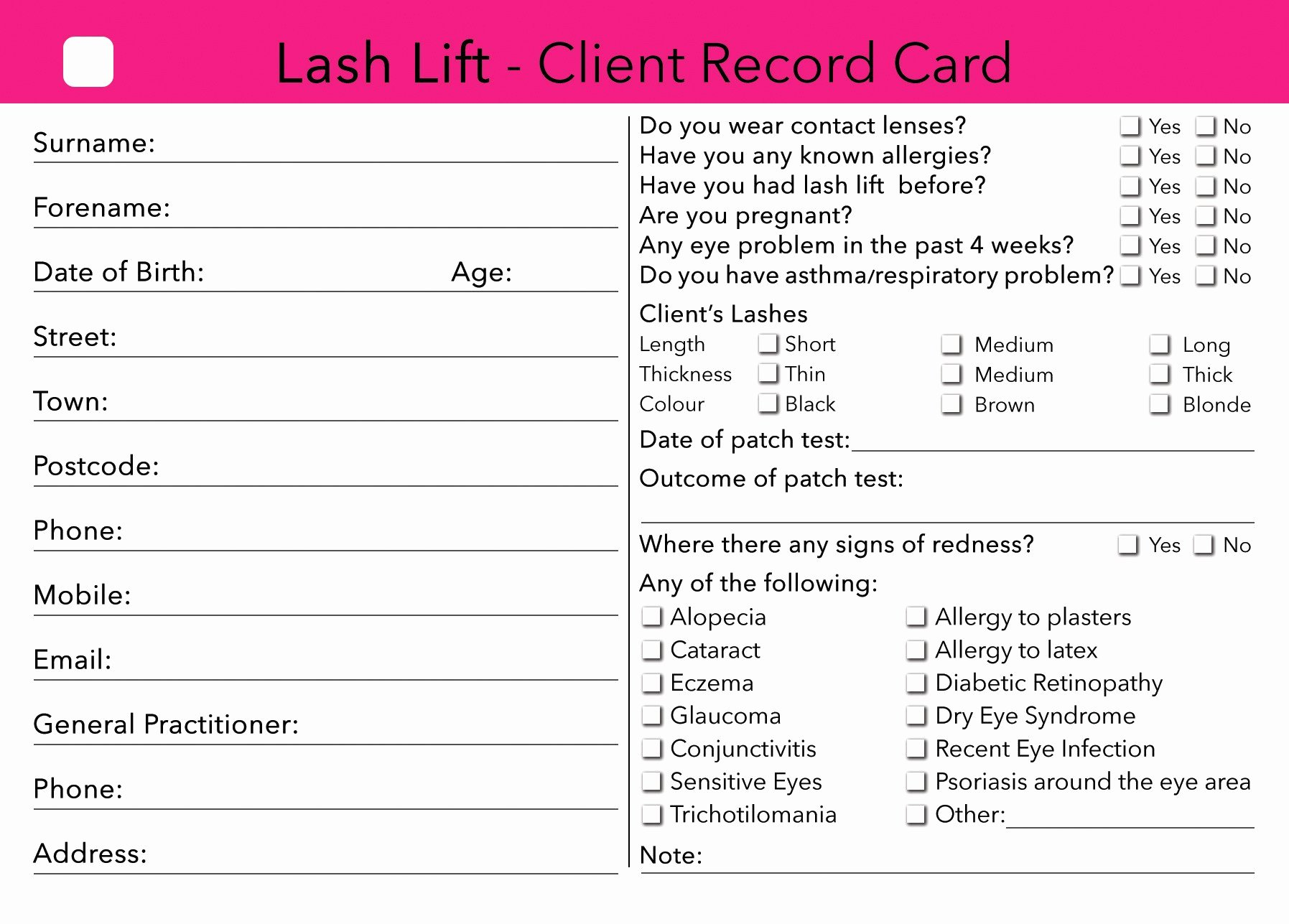 Waxing Consent form Template Luxury Contact Lens Record Card Template Tutore