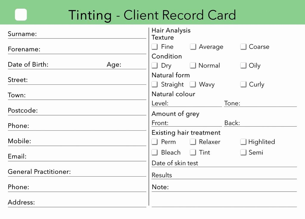 Waxing Consent form Template New Beauty Client Card Treatment Consultation Card In 2019