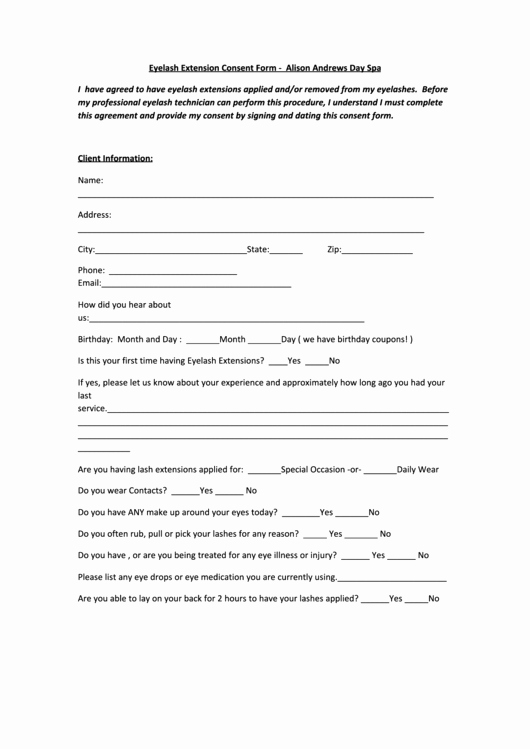 Waxing Consent form Template New Lash Consent form Alison andrews Spa Printable Pdf