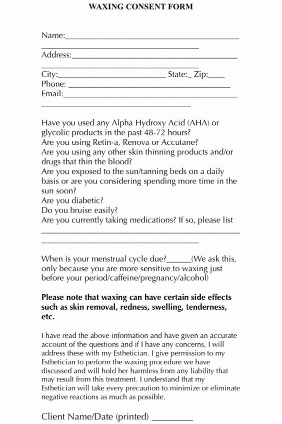 Waxing Consent form Template Unique A Simple and Easy Waxing Consent form for Your Clients to