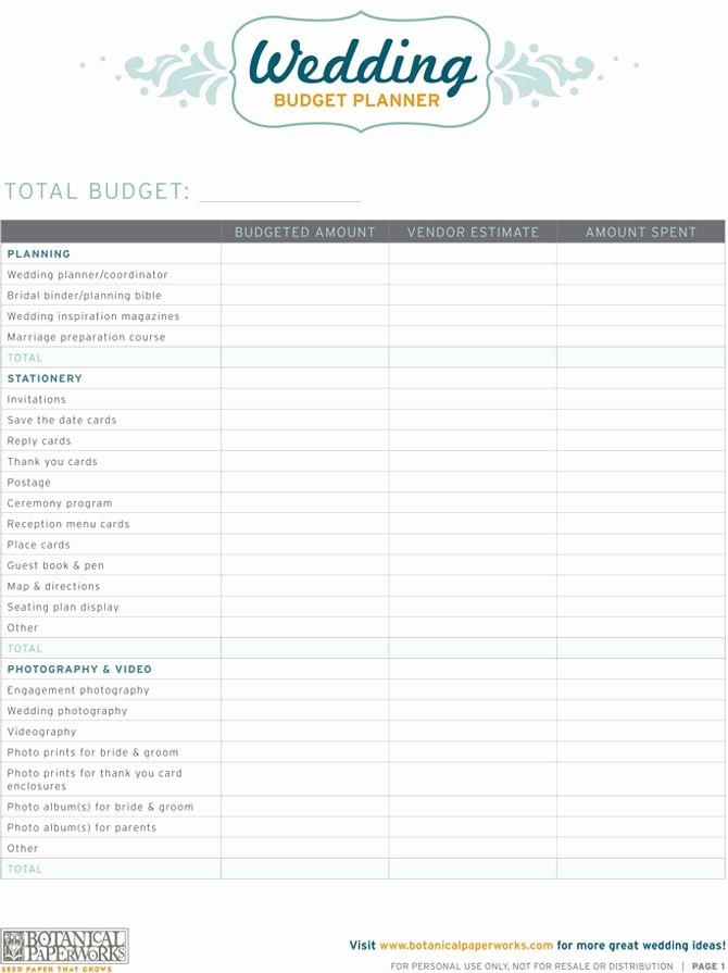 Wedding Budget Planner Template Unique Free Printables Wedding Bud Planner