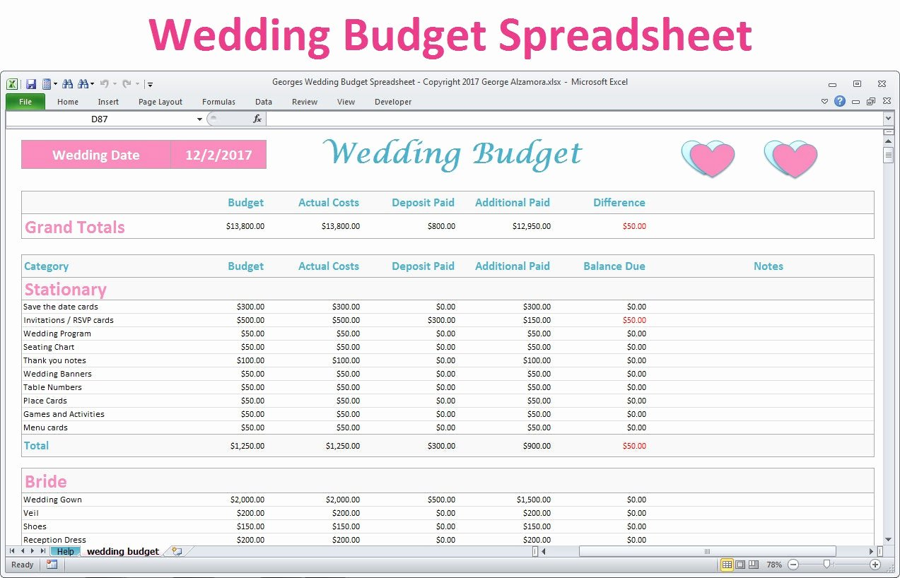 Wedding Budget Planner Template Unique Wedding Bud Spreadsheet Planner Excel Wedding Bud