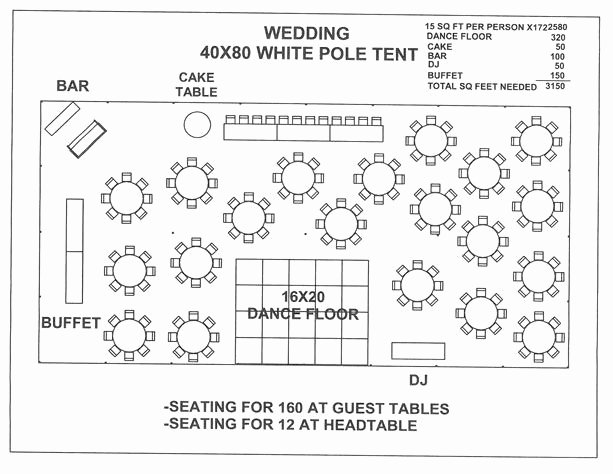 Wedding Floor Plan Template Elegant Wedding 40x80 White Pole Tent A