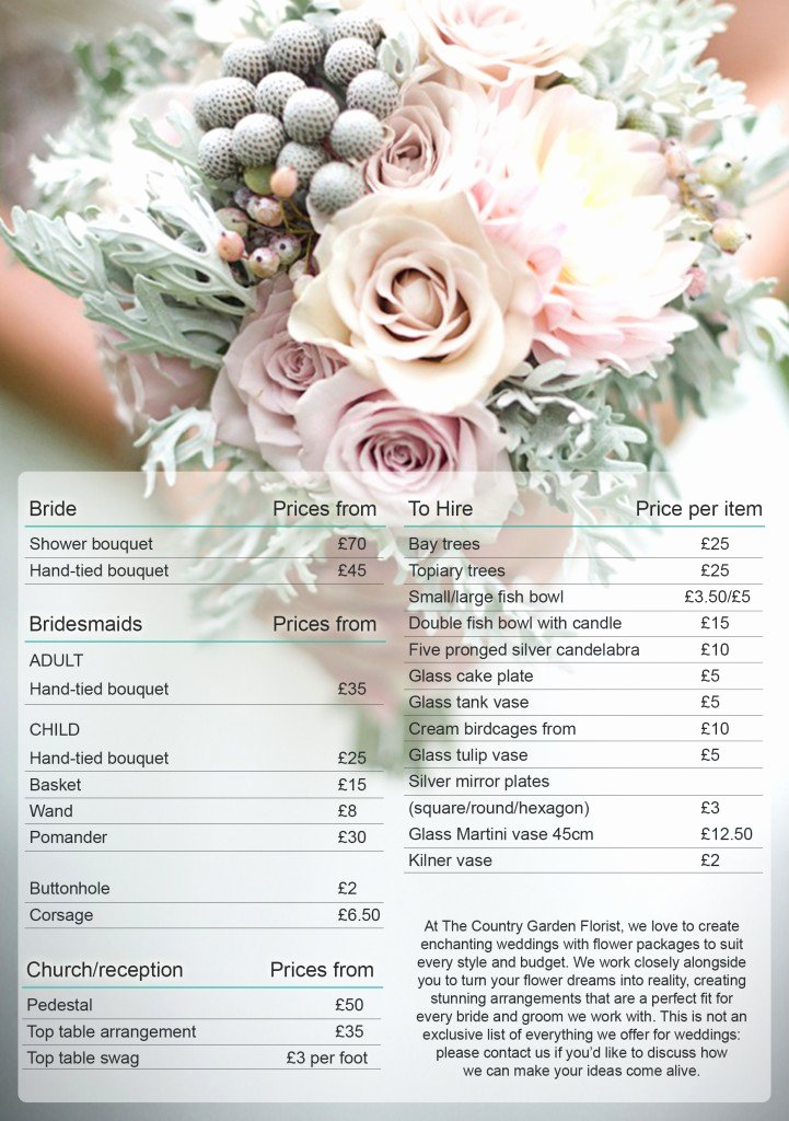 Wedding Flowers order form Template Awesome Great Wedding Bouquet Prices 2016