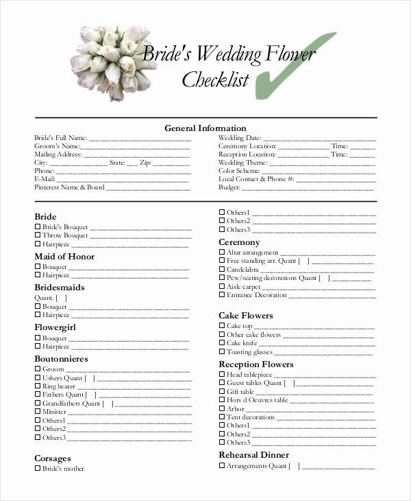Wedding Flowers order form Template Best Of Simple Wedding Checklist 27 Free Word Pdf Documents