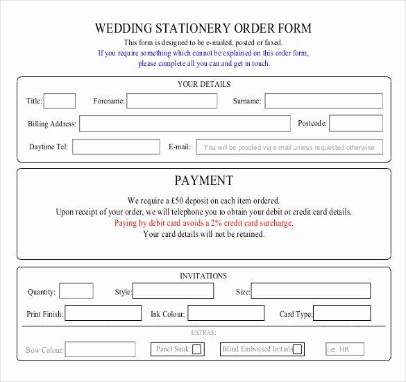Wedding Flowers order form Template Fresh 16 Wedding order Templates – Free Sample Example format
