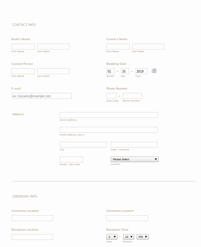 Wedding Flowers order form Template Lovely Wedding Consultation form Template