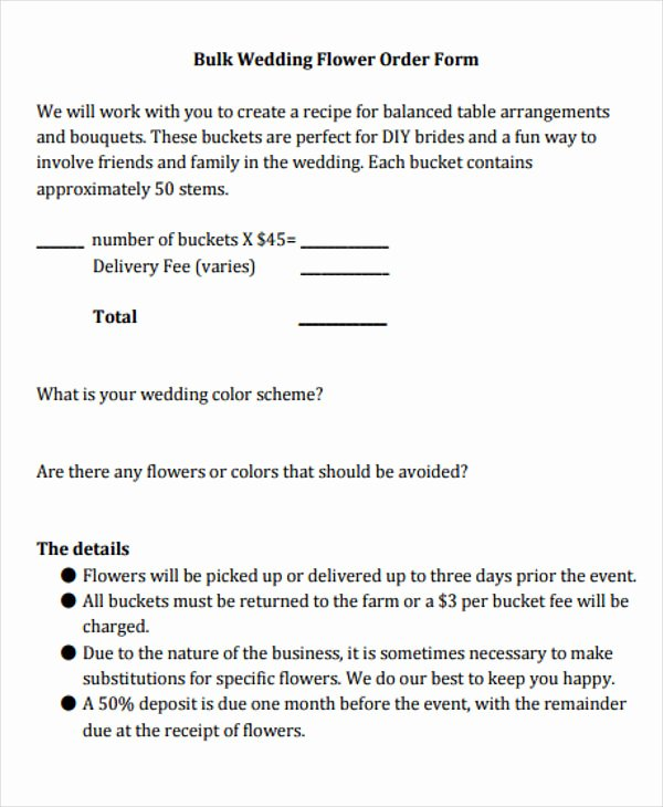 Wedding Flowers order form Template Luxury 7 Wedding order Templates Free Sample Example format